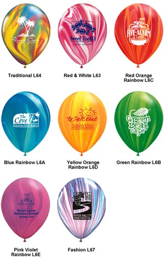 Helium Latex Balloons and other promotional products.